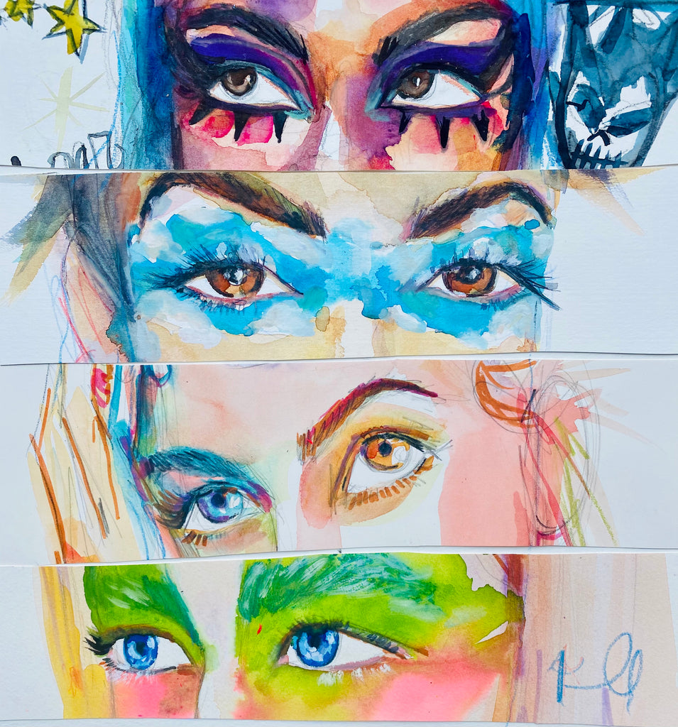 "Eyes. 12""x12"" original watercolor collage"