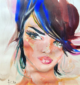 "Kendall. 12""x12"" original mixed media watercolor painting"