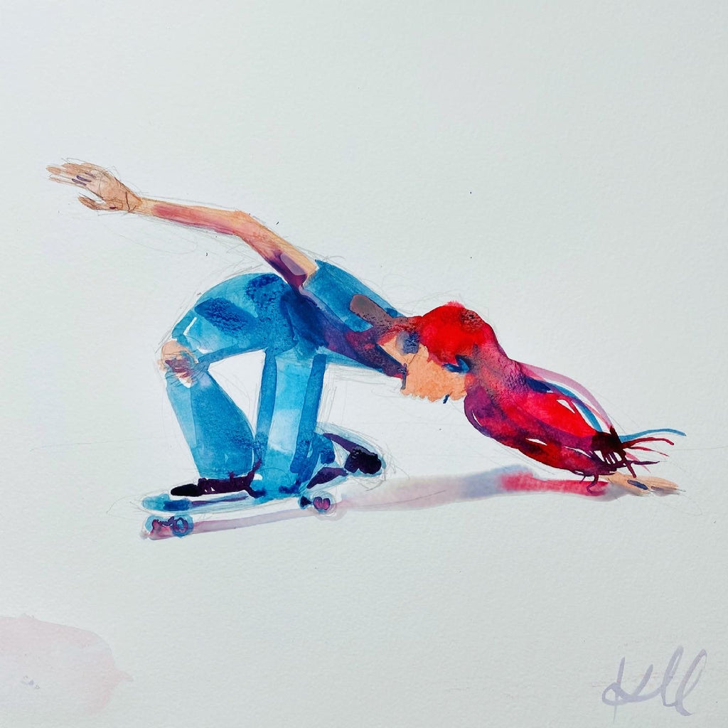 "Skate. 12""x12"" original watercolor painting"