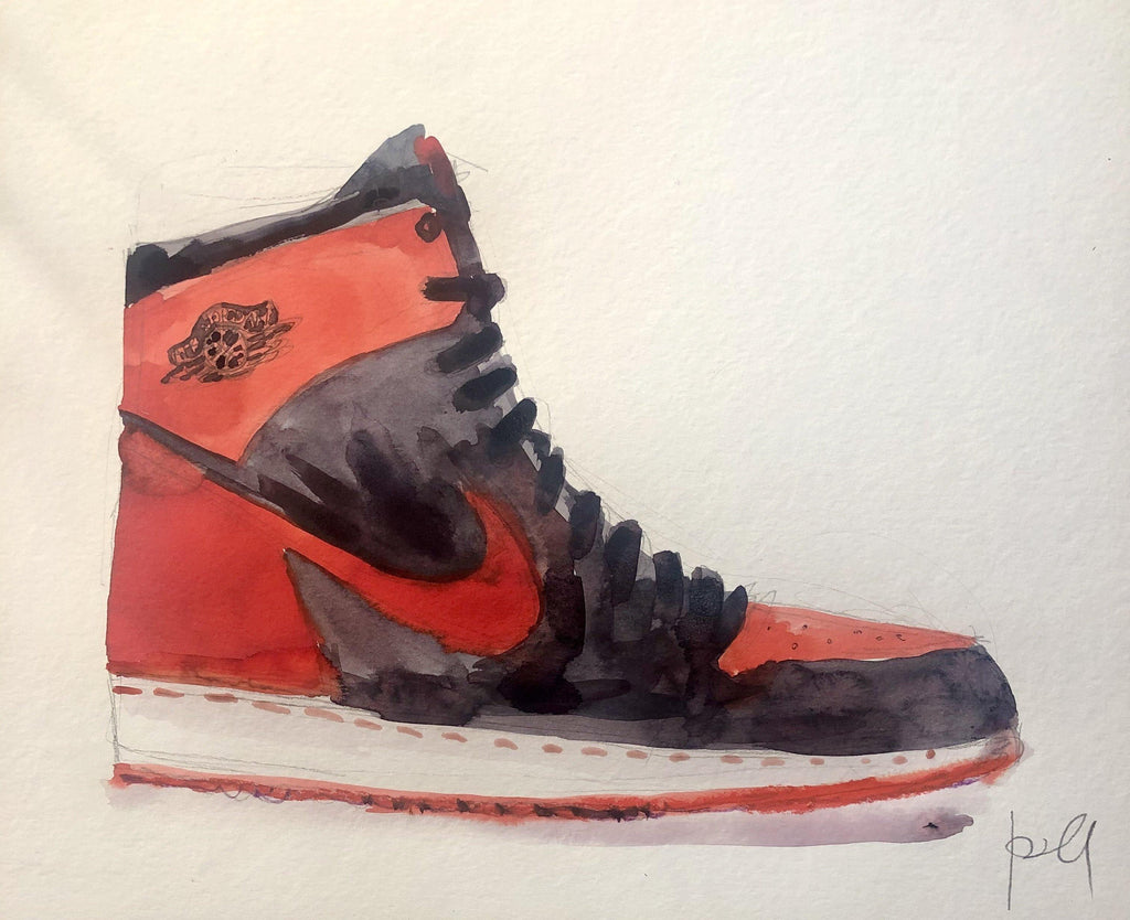 "Sneaker. 10""x12"" original watercolor painting. - Kyra Kendall"