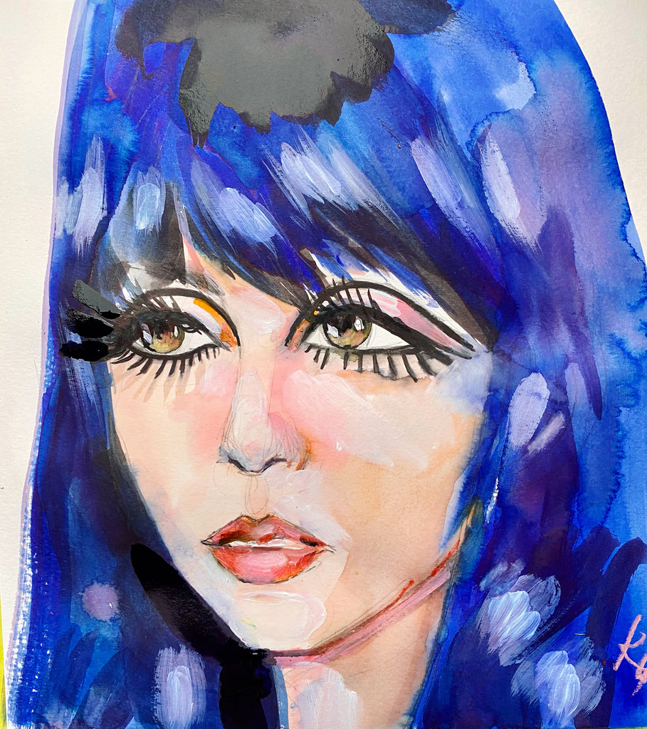 "Cher. 12""x12"" original watercolor painting."