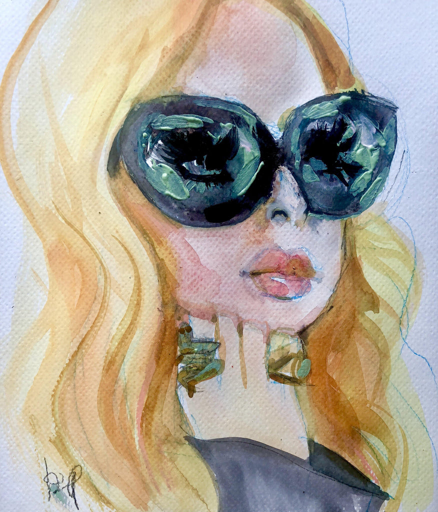 "Rachel. 12""x13"" original watercolor painting - Kyra Kendall"