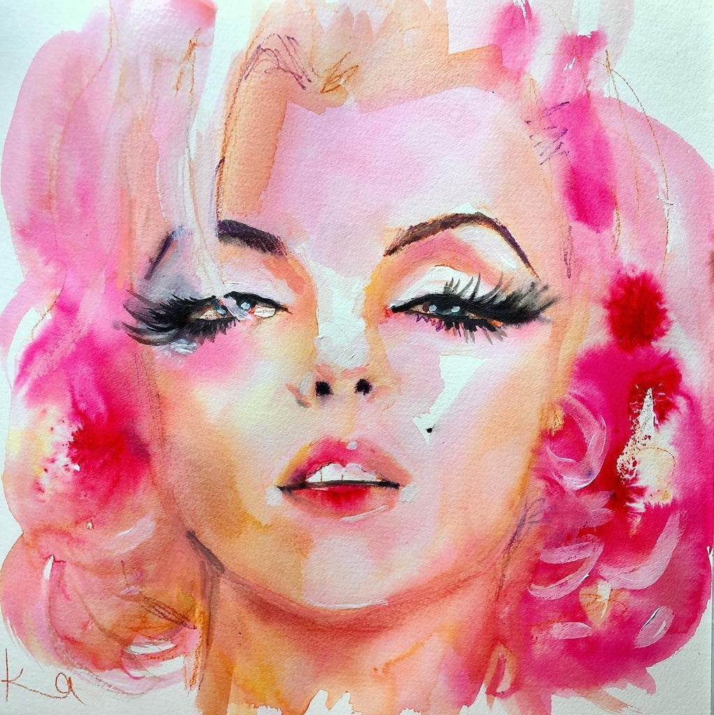 "Marilyn. 12""x12"" original watercolor painting. - Kyra Kendall"