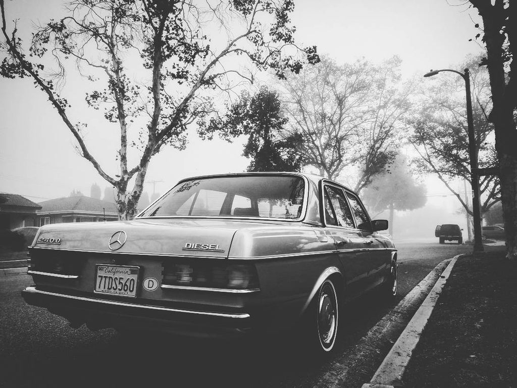 Mercedes 240D Black and White