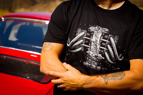 RetroGrade Flat-Six T-Shirt Model next to Red Porsche