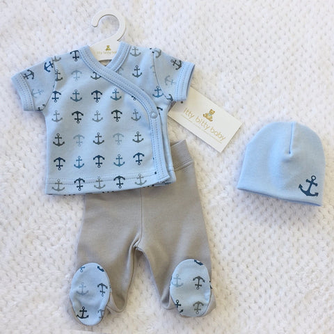 Anchor Layette set short sleeve