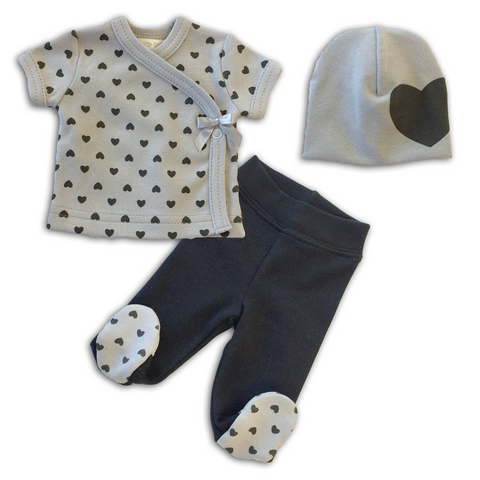Dainty Heart Layette set short sleeve