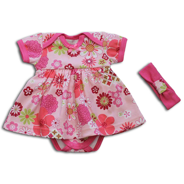 Retro Flower Onesie Dress Set