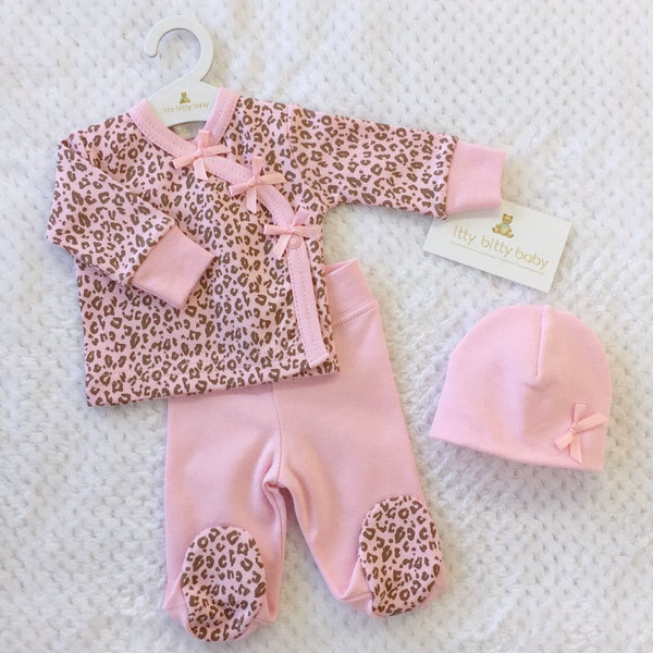 Pink Cheetah layette set long sleeve