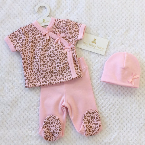 Pink Cheetah layette set short sleeve