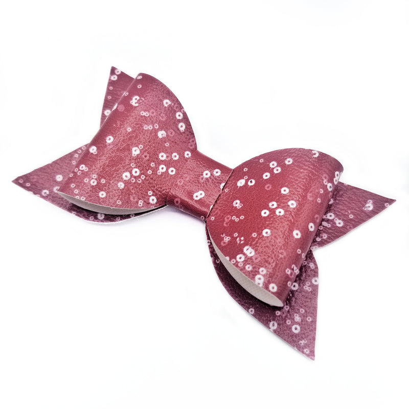 Mauve Glitter Marble Sailor Hair Bow