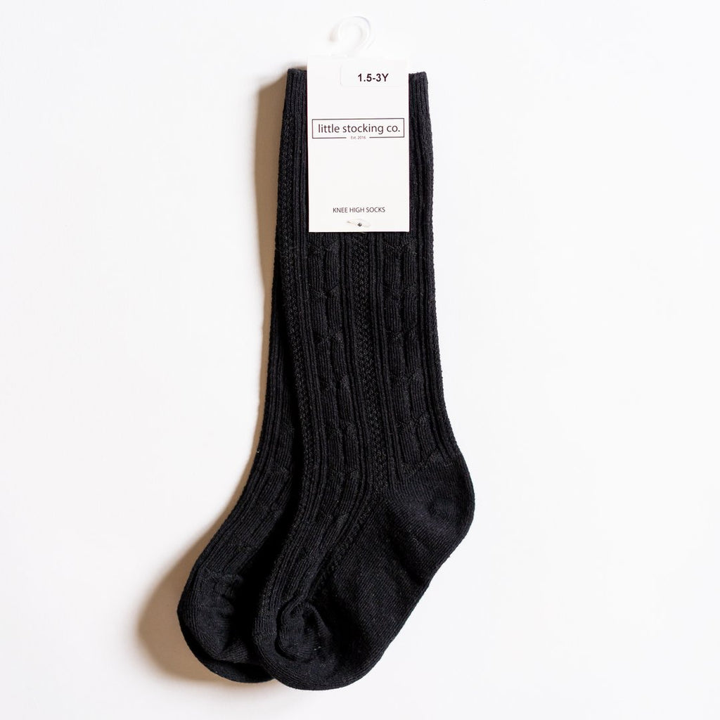 Black Cable Knit Socks