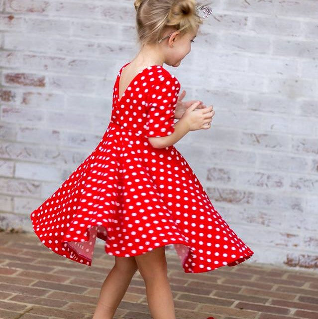 Red Polka Dot V-Back Dress