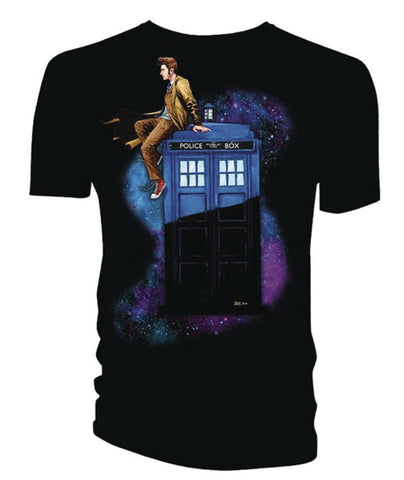 DOCTOR WHO 10TH DOCTOR ON TARDIS BLACK - Packrat Comics