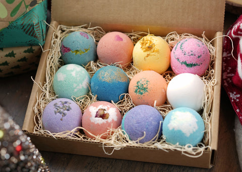 12 Bath Bomb Gift Set, Handmade in USA with Fresh Ingredients. Great Spa Gift, Gift for Her