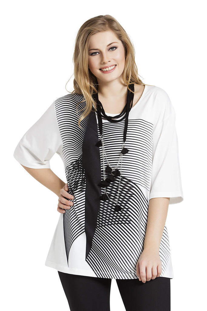 Hypnotic Stripe Tunic with Necklace
