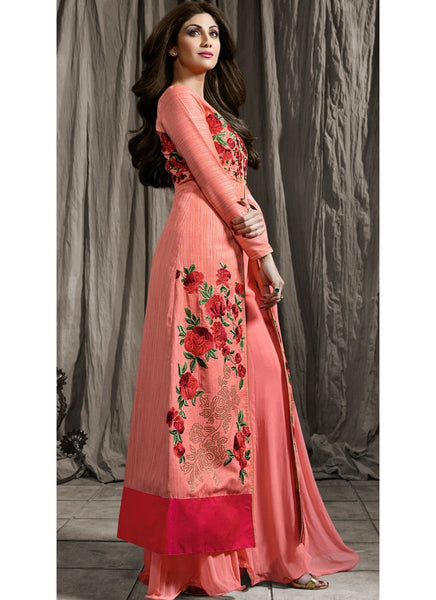 Pink Raw Silk/Georgette Embroidered Palazzo Suit