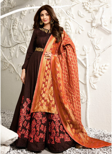 Brown & Orange Raw Silk/Viscose Jaquard Embroidered Suit