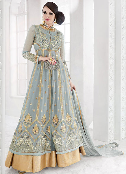 Grey & Gold Georgette Embroidered Lehenga Suit