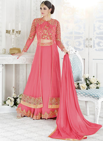 Pink & Gold Georgette Embroidered Lehenga Suit