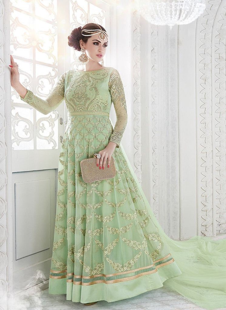 Green Georgette Embroidered Anarkali Suit