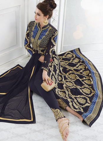 Navy Blue Georgette Embroidered Lehenga/Pant Suit
