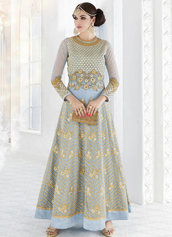 Light Blue & Gold Georgette Embroidered Suit