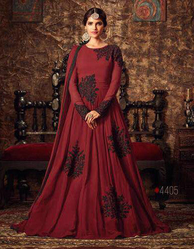 Maroon & Black Georgette Embroidered Anarkali Suit