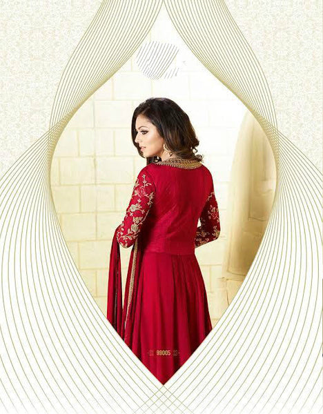 Red & Gold Broad Border Georgette Embroidered Suit