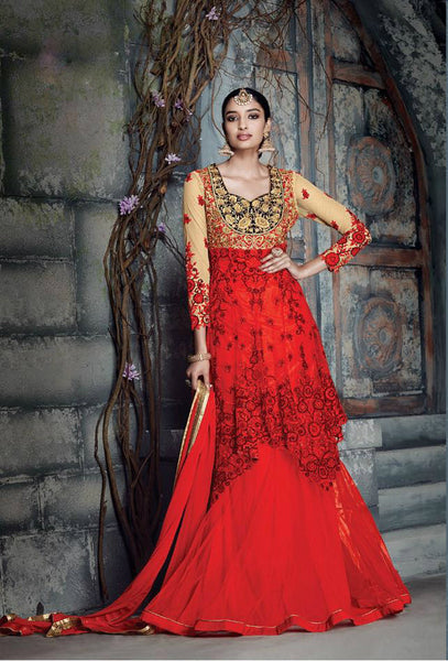 Red & Beige Pure Net Embroidered Salwar Kameez
