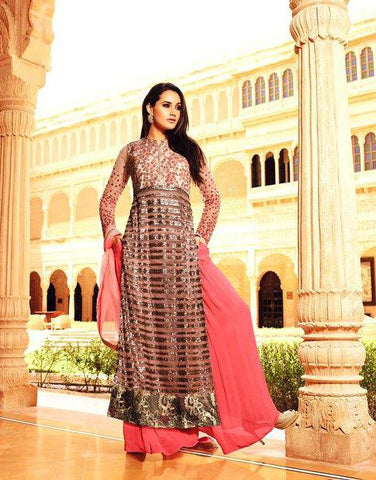 Pink & Silver Net/Silk Embroidered Palazzo Suit