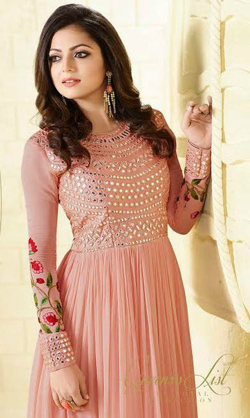 Pink Georgette Floral Embroidered Suit