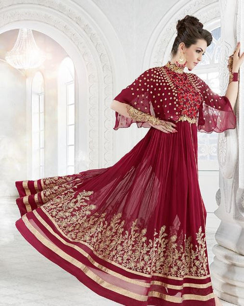 Dark Red & Gold Georgette Embroidered Suit
