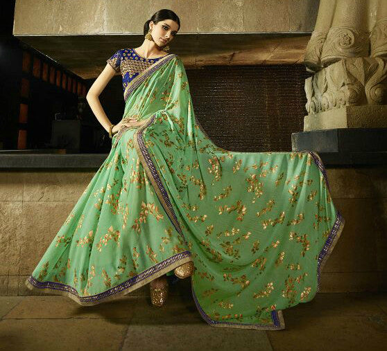 Green Chiffon Rainbow Foiled Saree