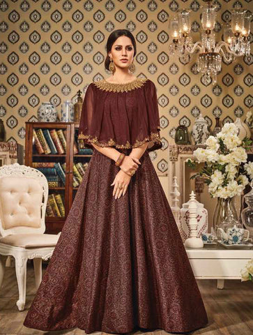 Brown Chandan Silk/Net Embroidered Suit with Cape