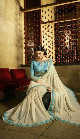 Cream & Blue Georgette Rainbow Foiled Saree