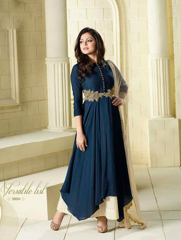 Dark Blue & Cream Pure Viscose Satin Embroidered Suit