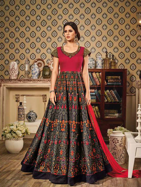 Red & Black Chandan Silk Embroidered Suit