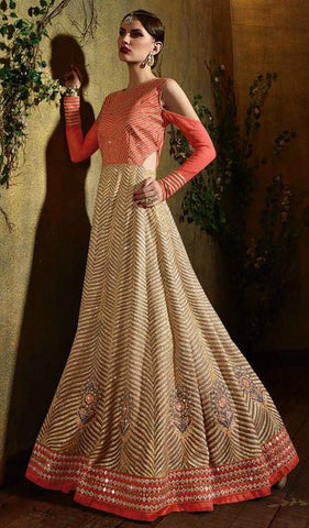 Orange & Beige Shaded Georgette Embroidered Anarkali