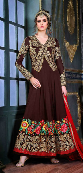 Brown & Red Heavy Embroidered Suit in Pure Georgette