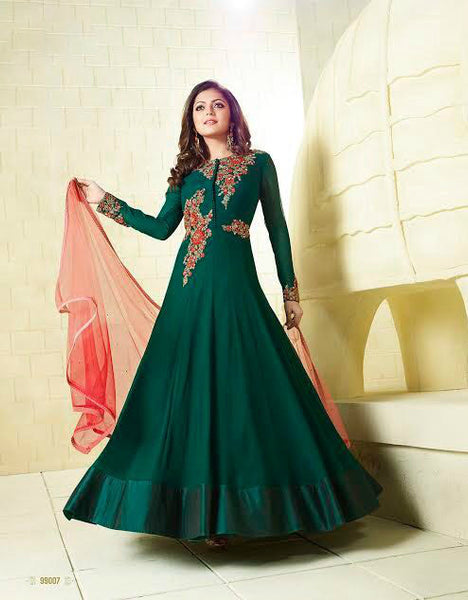 Dark Green & Red Chiffon Embroidered Suit