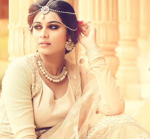 Beige & Cream Net/Santoon Embroidered Suit