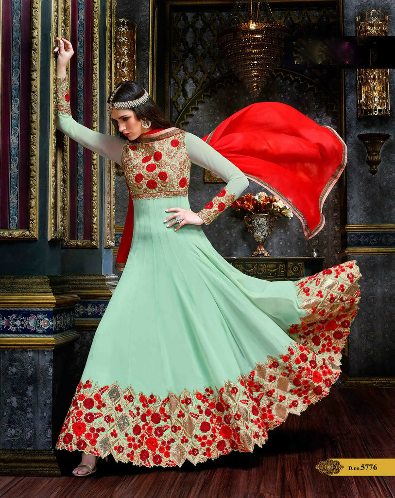 Light Green & Red Heavy Embroidered Suit in Pure Georgette