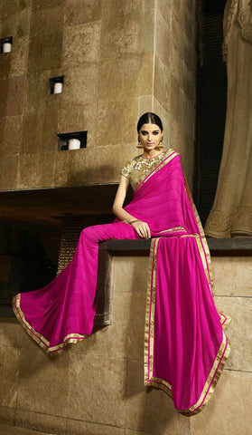 Hot Pink Georgette Jaquard Saree