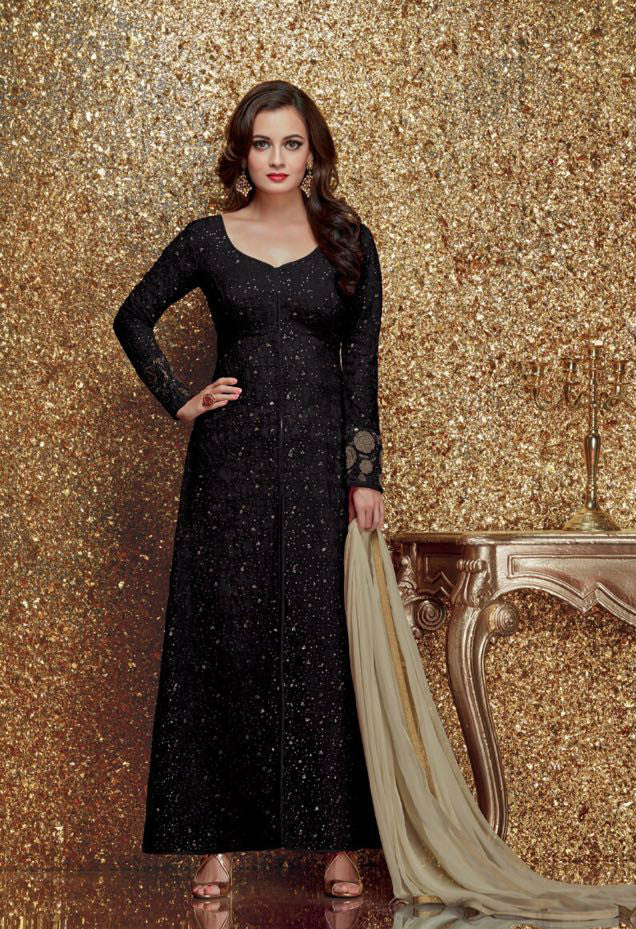 Dia Mirza Black Georgette/Net Embroidered Suit