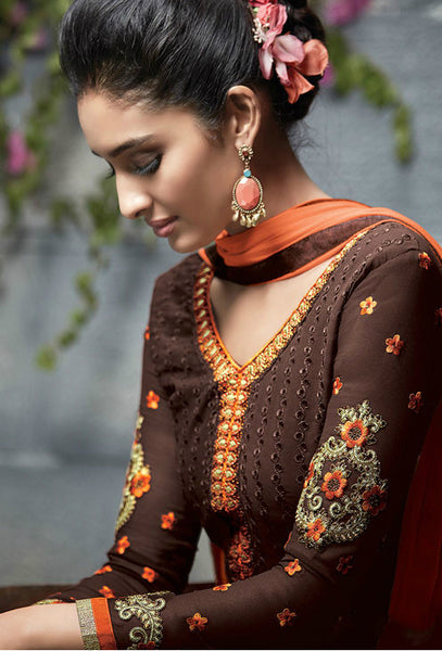 Brown & Orange Georgette Embroidered Straight-Cut Suit