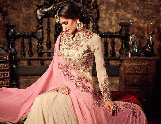 Cream & Pink Georgette Embroidered Anarkali Suit