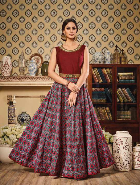 Maroon & Grey German Silk Embroidered Suit