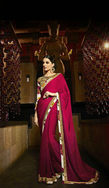 Magenta Satin Shaded Saree