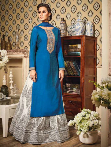 Blue & White Zurich Silk Embroidered Lehenga Suit